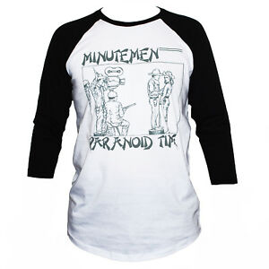 Details about Minutemen T SHIRT Fugazi Black Flag Punk Rock Raglan 3/4  Sleeve Graphic Band Tee