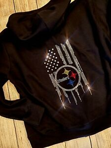 quite nice 810dd c1653 Details about New Women's Rhinestone Pittsburgh Steelers Zip Up Jacket  Hoodie sz M all sizes