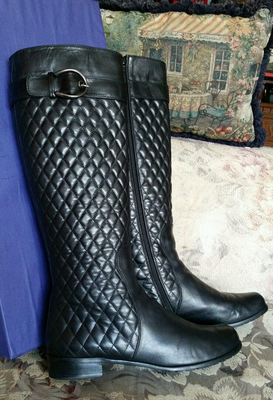 Stuart Weitzman  650 Cuero Negro Diamante Diamante Diamante Acolchado botas Altas ecuestre de Napa 42  minoristas en línea