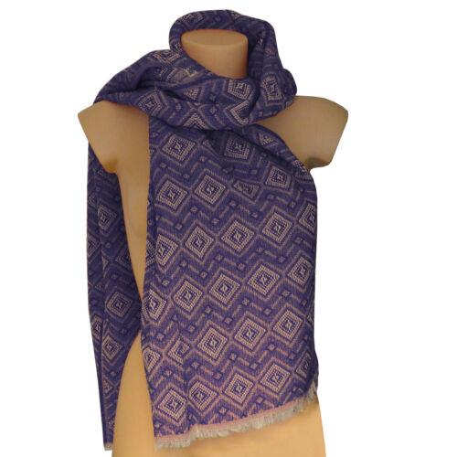 Damen Schal 2 Meter lang Tuch blau rot Karo Muster