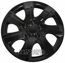 "Set of 4 BLACK 16"" Hub Caps Wheel Covers 7 Spoke Star Full Tire Rim Lug Hubs New"