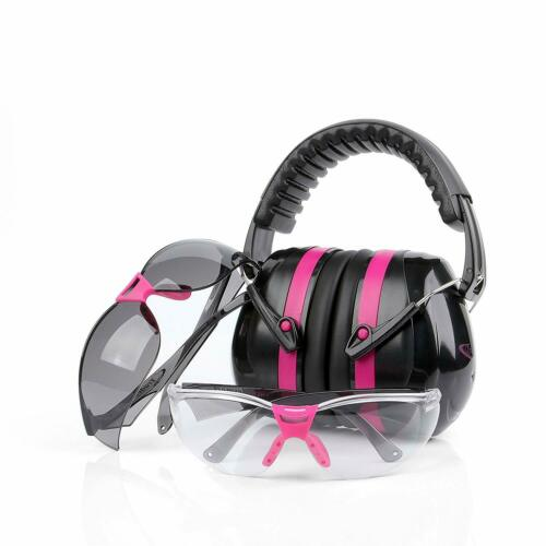 Pink Ear Muffs Headset Gun Shooting Range Earmuffs Glasses Set Noise Protection