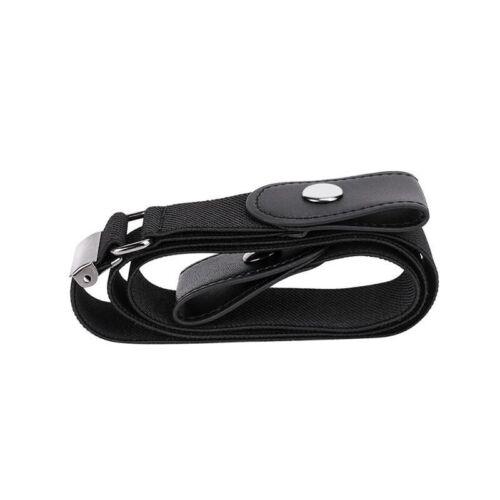 Unisex Black Buckleless Belts Invisible Elastic Jeans Adjustable Comfort UK