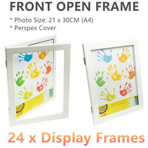 24 X A4 Front Open Photo Frames White Craft Picture Holders Drawings Arts Craft