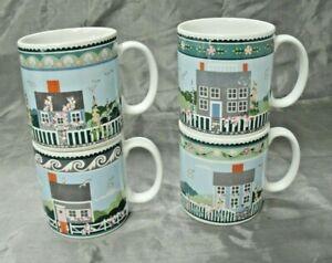 Sakura-NANTUCKET-Set-of-3-7-5-8-034-Coffee-Tea-Mugs-Claire-Murray-Stoneware-EUC