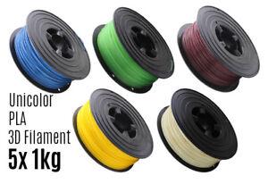 5x-3D-Filament-PLA-1kg-1-75mm-Unicolor-Drucker-Printer-Spule-Rolle-1000g