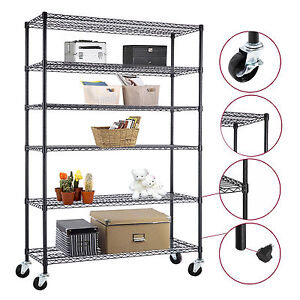Details about Commercial 4/5/6 Tier Storage Rack Organizer Kitchen Shelving  Steel Wire Shelves