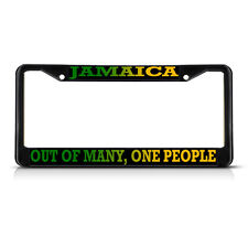 Jamaica, Out Of Many, One People METAL Black License Plate Frame Tag Holder