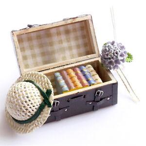 Fashion-Retro-1-12-Dollhouse-Miniature-Leather-Wood-Suitcase-Mini-Luggage-Box-BS