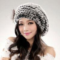 100%Real Farm Rex Rabbit Fur Hats Womens Rabbit Fur Hat Charming Gray Beret Caps