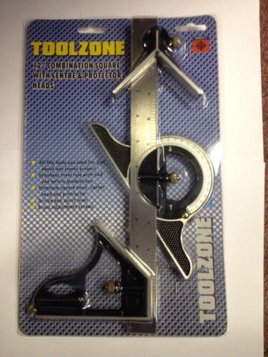"""12/"""" Alloy Engineers Protractor /& Combination Square  Ruler Tool w Spirit level"""