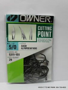 Owner Hooks Ssw All Purpose Bait Black Super Needle Point 5311 151