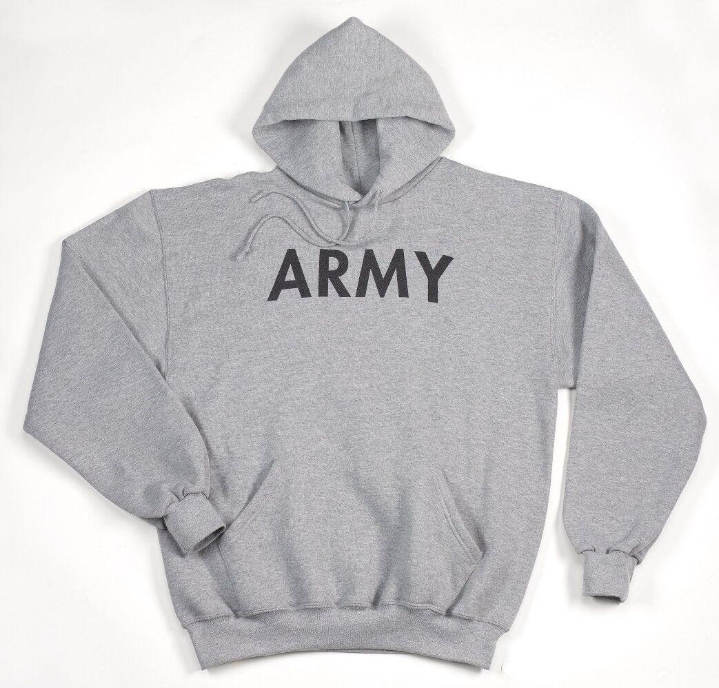Army Hooded Sweatshirt Sports Us Hoodie Sweatshirt Grey XL XL