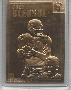 Drew-Bledsoe-2000-Danbury-Mint-Encased-22kt-Gold-Football-Card-68-NE-Patriots