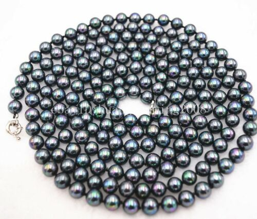 """Long 36/"""" 54/"""" 8mm Black South Sea Peacock Shell Pearl Necklace AAA"""