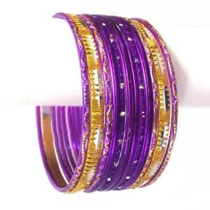 Uhren & Schmuck Folkloreschmuck Indische Armreifen Set Ø6,4cm Armband Bollywood Schmuck Churiyan Salwar Kameez