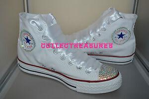 Converse 12 13 2 Crystal Junior Bling Diamante Youth Bianco 11 1 Personalizzato Hi Top Uk RYqxz4x