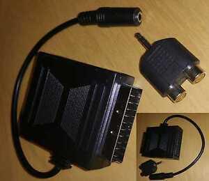 kopfh rer und lautsprecher sony tv fernseher adapter scart klinke cinch audio ebay. Black Bedroom Furniture Sets. Home Design Ideas