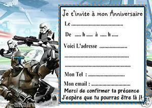 5 cartes invitation anniversaire star wars 010 d 39 autres en vente ebay. Black Bedroom Furniture Sets. Home Design Ideas