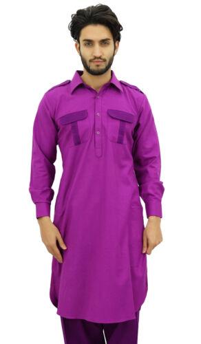 Atasi Men/'s Pathani Style Men/'s Salwaar Kameez Magenta Punjabi Shirt