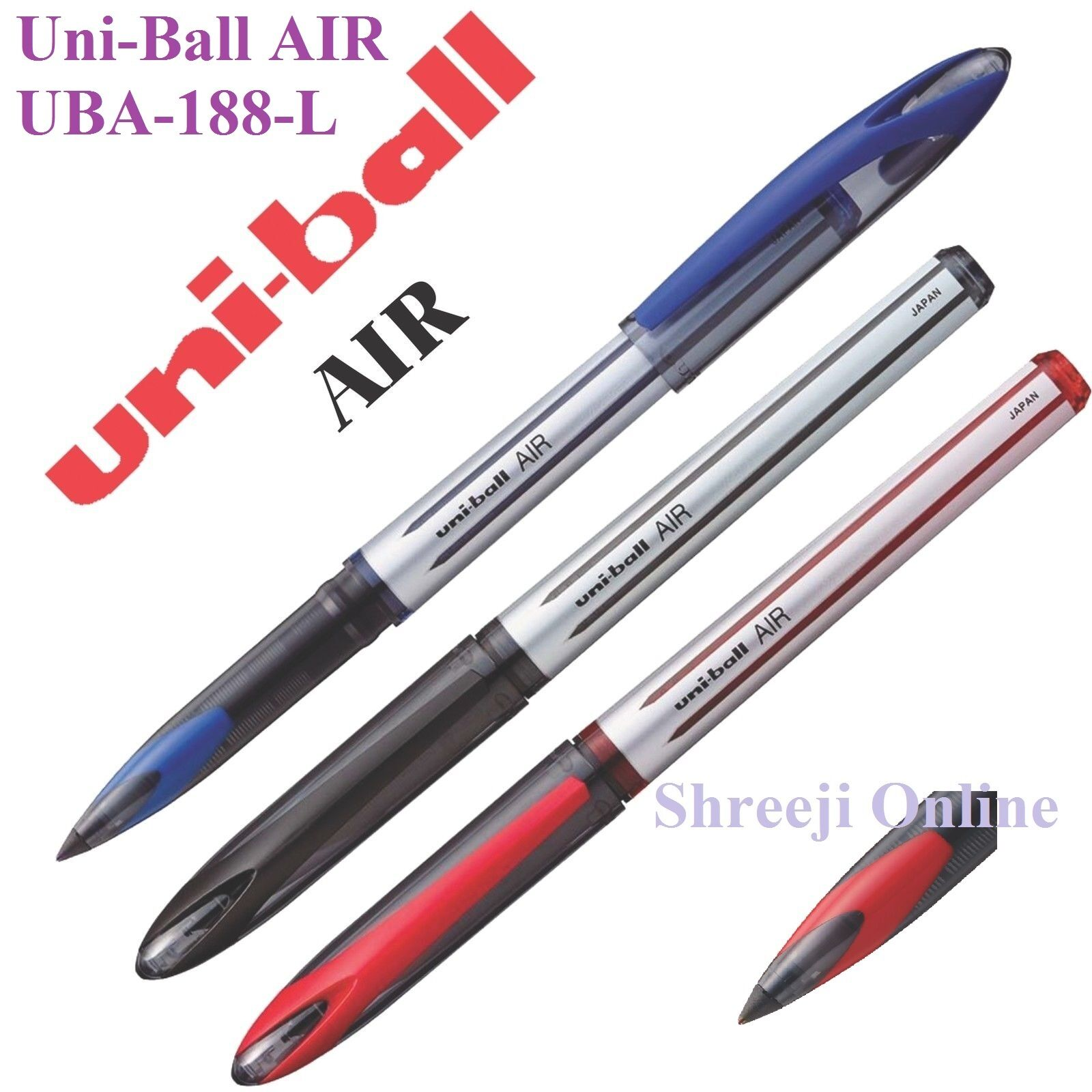 BLUE Uni Ball AIR UBA-188-L BROAD 0.7MM Rollerball Pen BLACK RED Pack of 3