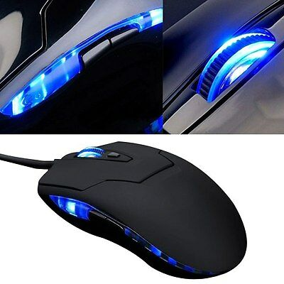 2400 DPI Blue LED 6 Button Optical USB Gaming Wired Mouse for PC Laptop Computer