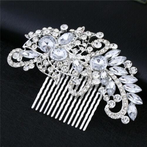 Bridal Hair Pins Rhinestone Pearl Flower Diamante Clips Wedding Crystal Grips UK