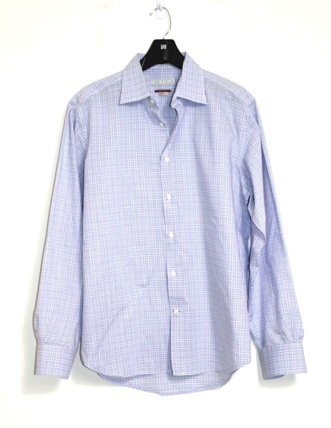 The Field - Men's L - Lavender Purple Plaid L S Cotton Dress Shirt