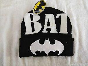 bcad7724c2d Batman Cuff Beanie Knit Hat Around Name And Front Logo White NWT DC ...