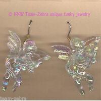 Funky Cupid Cherub Guitar Earrings-baby Angel Musician Charms Jewelry-iridescent