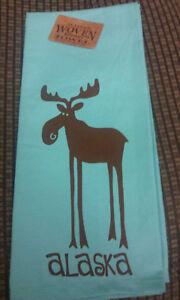 Alaska-Theme-Decorative-Dish-Towel-Cute-Leggy-Moose-UNIQUE-souvenir