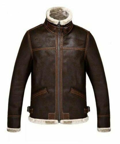 Da Uomo Invernale Moto Effetto Invecchiato Marrone Pelle Di Pecora Pelliccia Sintetica Giacca in Pelle Casual