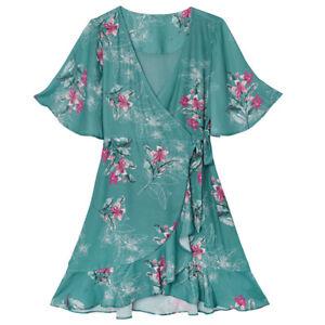 Wickelkleid Damen Kleid Frauen Sommerkleid Urlaub YEHWANG Rüschen Grün S M L XL