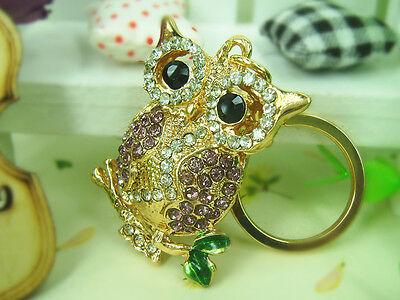 TR011 N T Owl  Keyring Cute Rhinestone Crystal Charm Pendant Key Bag Chain Gift