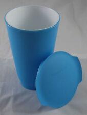Tupperware C 158 Allegra 450 ml Cup Becher mit Deckel Weiß / Blau Neu OVP