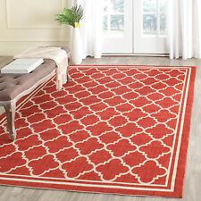 "Safavieh Power-loomed Poolside Red/ Bone Indoor/ Outdoor Rug (4' x 5'7"")"