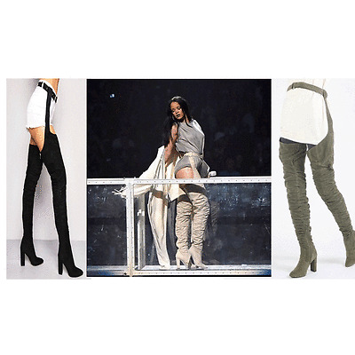 DIVADAMES Womens Distressed Denim//Lace Up// Suede Belt Thigh High Boots-MIX