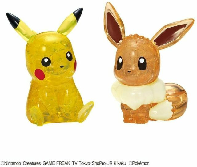 """Crystal puzzle 3D puzzle """"Pikachu & Eevee"""" 48 pieces Beverly 50247 Japan"""