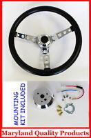 Ford Falcon Thunderbird Galaxie Gt Retro Steering Wheel Black 14 1/2 Black Cap