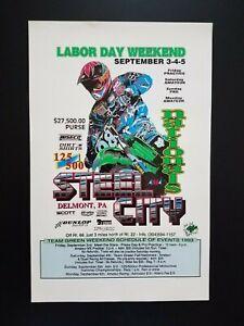 Steel City Motocross Racing Poster Motorcycle 1993 Kawasaki Delmont Pennsylvania