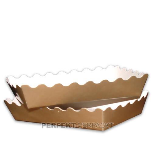 250 Gebäckschalen gold aus Pappe 150x140x46mm Pappschalen