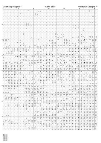 CELTIC SKULL cross stitch pattern punto cruz fantasy