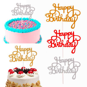 Magnificent 15 Pcs Glitter Paper Happy Birthday Cake Topper Cupcake Dessert Funny Birthday Cards Online Inifofree Goldxyz