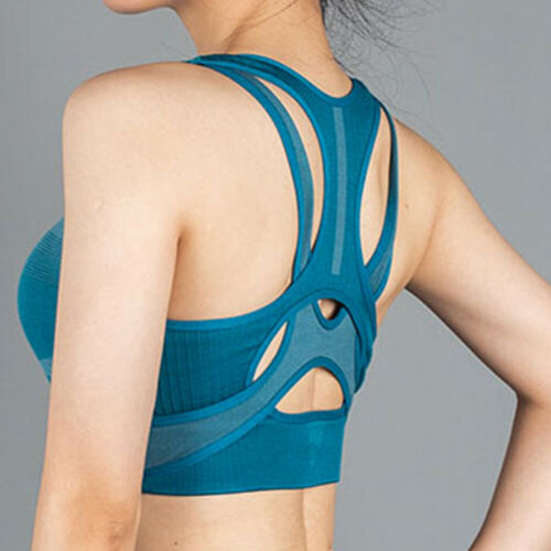 Women High Impact Sports Bra Padded Push Up Yoga Stretch Tops Seamless Crop Tops