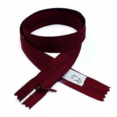 """12 pcs High Quality BKC Invisible Zipper Top Open Bottom Closed 24/"""" Burgundy#520"""