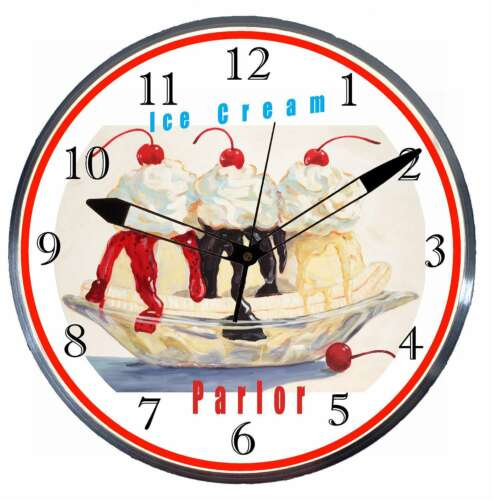 Ice Cream Parlor 15 Retro Style Metal Pam Advertising Clock LED Light