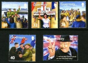 GUERNSEY-2005-MEMORIES-OF-WORLD-WAR-2-SET-OF-ALL-5-COMMEMORATIVE-STAMPS-MNH