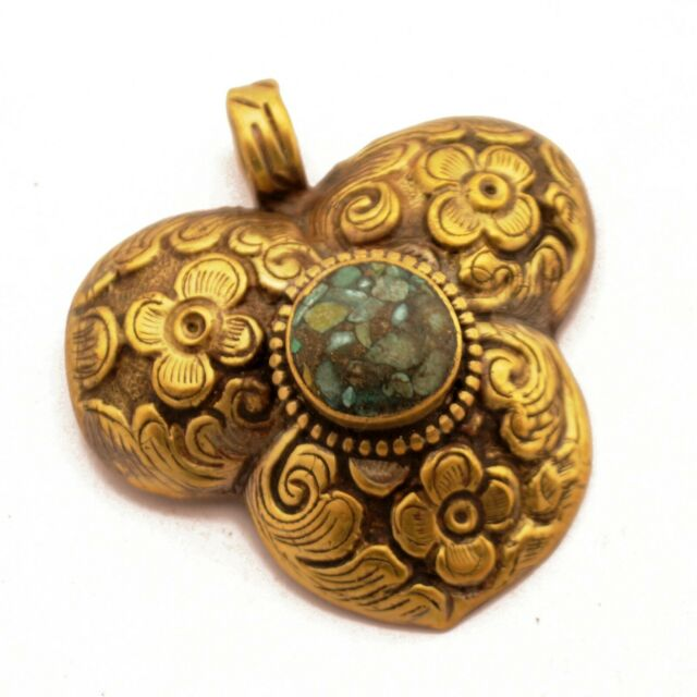 Repousse Turquoise Brass Pendant Tibetan Nepalese Handmade Nepal PD966