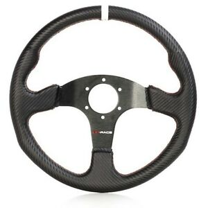 Lenkrad-Carbon-Wildleder-Flach-Sportlenkrad-Rallye-Racing-Motorsport