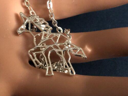 Unicorn Jewelry Origami Silver Unicorn Necklace Geometric Unicorn Necklace